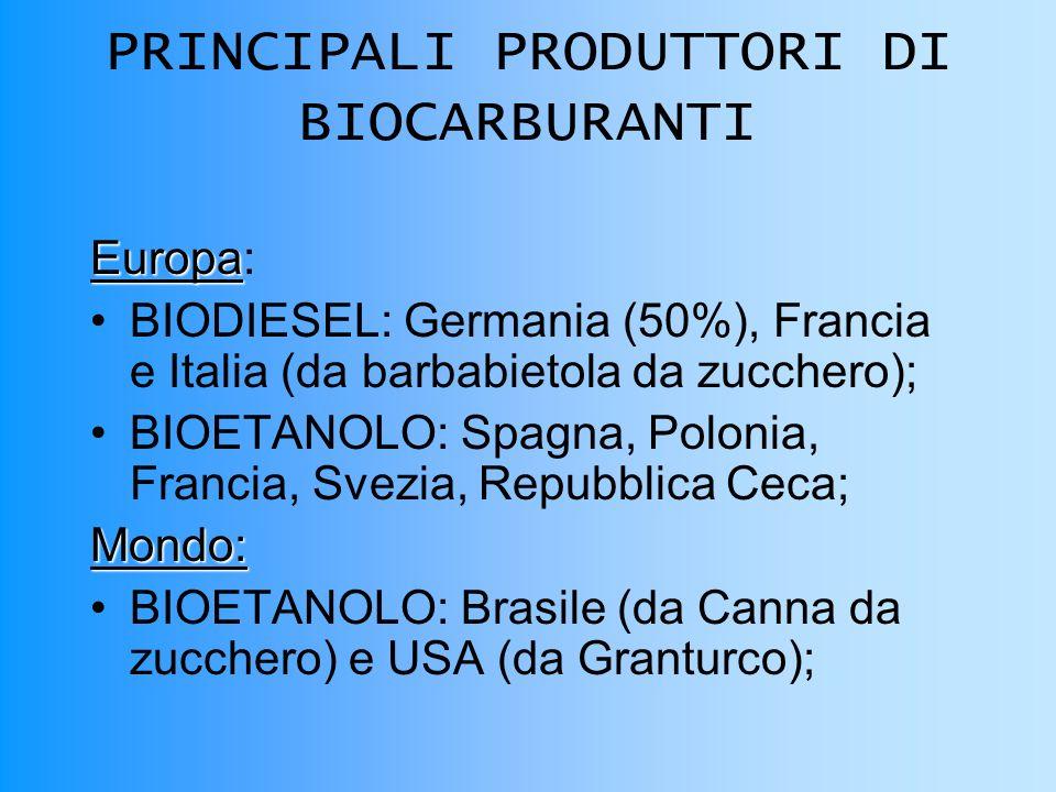 PRINCIPALI PRODUTTORI DI BIOCARBURANTI Europa Europa: BIODIESEL: Germania (50%), Francia e Italia (da barbabietola da zucchero); BIOETANOLO: Spagna, Polonia, Francia, Svezia, Repubblica Ceca;Mondo: BIOETANOLO: Brasile (da Canna da zucchero) e USA (da Granturco);