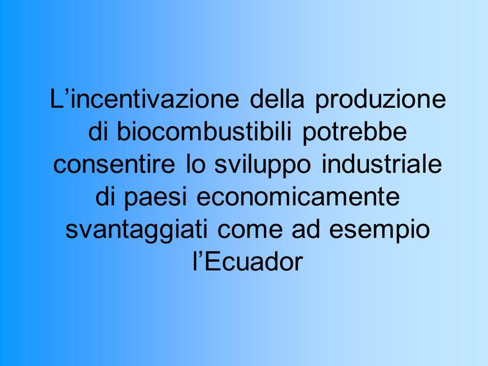 Lincentivazione della produzione di biocombustibili potrebbe consentire lo sviluppo industriale di paesi economicamente svantaggiati come ad esempio lEcuador