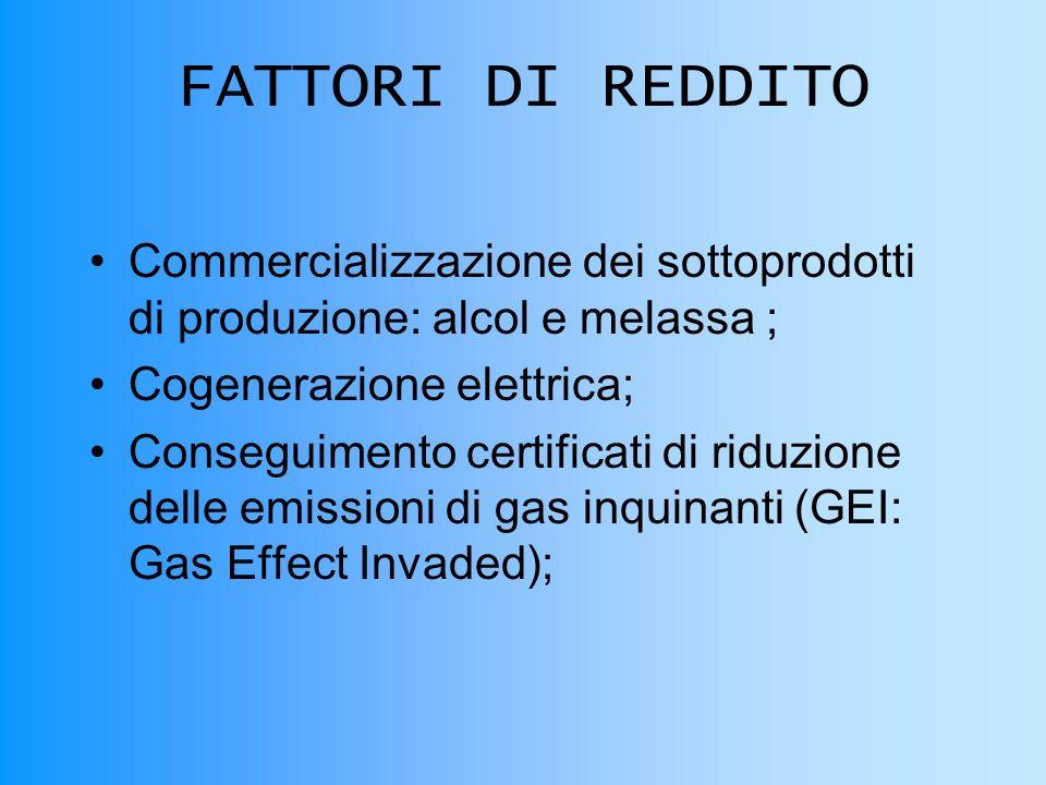 FATTORI DI REDDITO Commercializzazione dei sottoprodotti di produzione: alcol e melassa ; Cogenerazione elettrica; Conseguimento certificati di riduzione delle emissioni di gas inquinanti (GEI: Gas Effect Invaded);