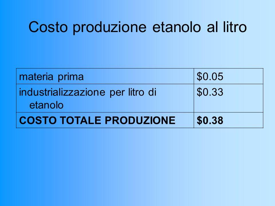 Costo produzione etanolo al litro materia prima$0.05 industrializzazione per litro di etanolo $0.33 COSTO TOTALE PRODUZIONE$0.38