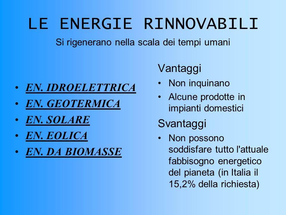 LE ENERGIE RINNOVABILI EN.IDROELETTRICA EN. GEOTERMICA EN.