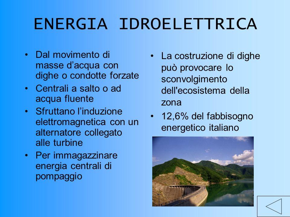 ENERGIA IDROELETTRICA Dal movimento di masse dacqua con dighe o condotte forzate Centrali a salto o ad acqua fluente Sfruttano linduzione elettromagnetica con un alternatore collegato alle turbine Per immagazzinare energia centrali di pompaggio La costruzione di dighe può provocare lo sconvolgimento dell ecosistema della zona 12,6% del fabbisogno energetico italiano