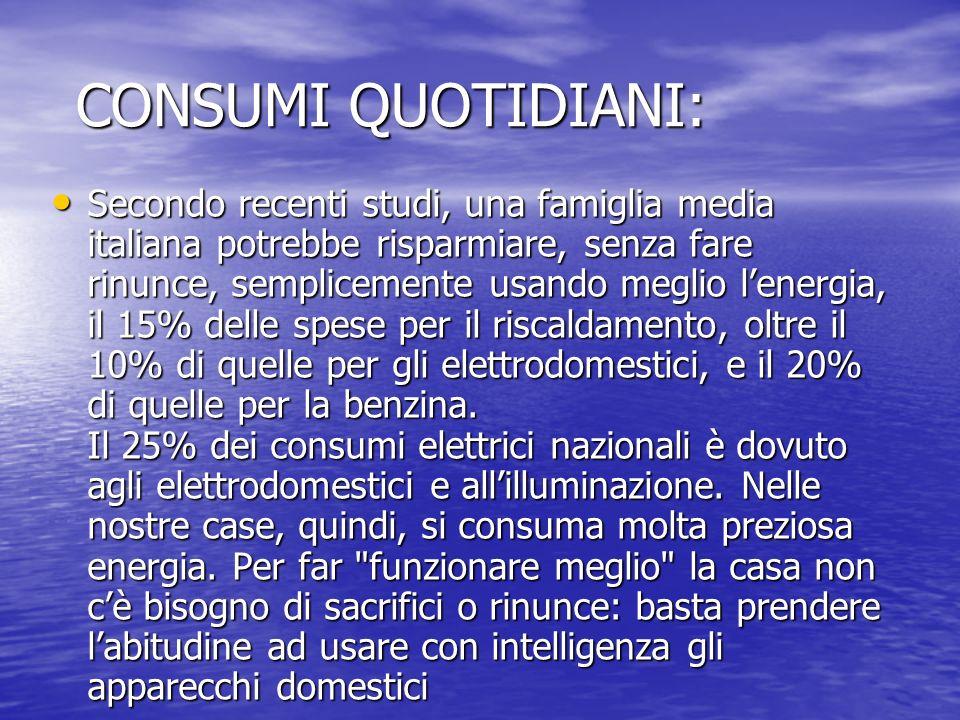 CONSUMI QUOTIDIANI: CONSUMI QUOTIDIANI: Secondo recenti studi, una famiglia media italiana potrebbe risparmiare, senza fare rinunce, semplicemente usa