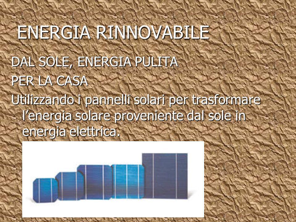 ENERGIA RINNOVABILE DAL SOLE, ENERGIA PULITA PER LA CASA Utilizzando i pannelli solari per trasformare lenergia solare proveniente dal sole in energia
