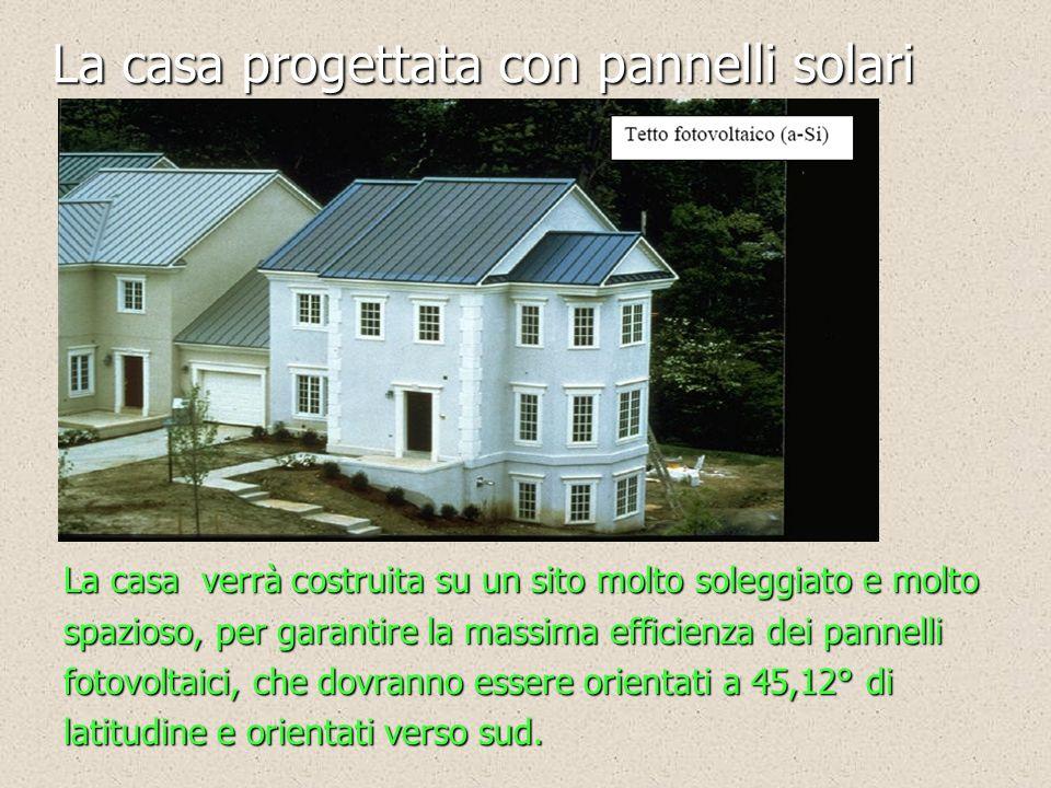 La casa progettata con pannelli solari La casa verrà costruita su un sito molto soleggiato e molto spazioso, per garantire la massima efficienza dei p