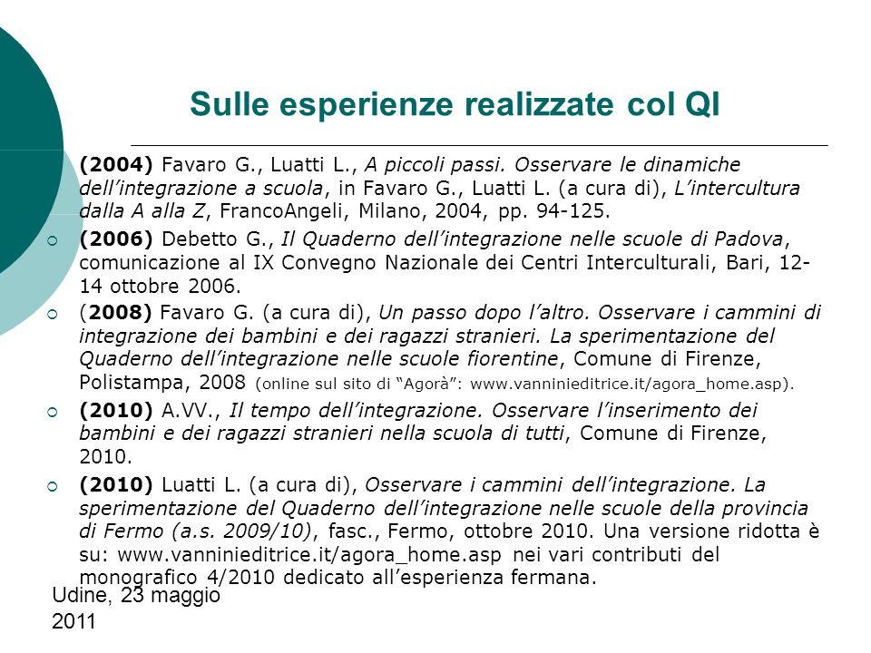Udine, 23 maggio 2011 Sulle esperienze realizzate col QI (2004) Favaro G., Luatti L., A piccoli passi.