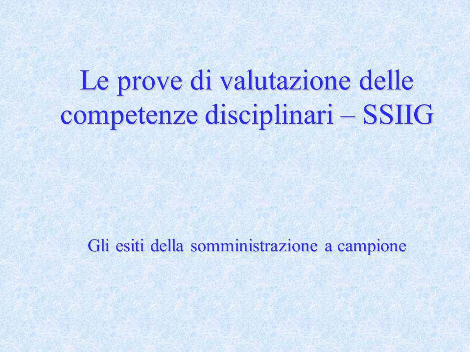 Le prove di valutazione delle competenze disciplinari – SSIIG Gli esiti della somministrazione a campione