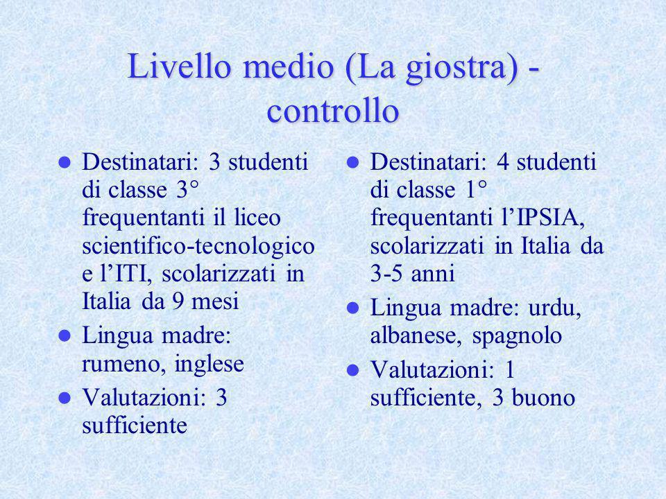 Livello medio (La giostra) - controllo Destinatari: 3 studenti di classe 3° frequentanti il liceo scientifico-tecnologico e lITI, scolarizzati in Ital