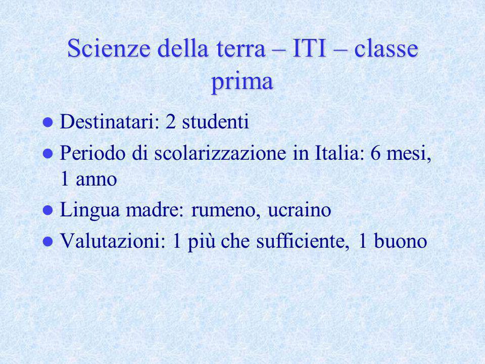 Scienze della terra – ITI – classe prima Destinatari: 2 studenti Periodo di scolarizzazione in Italia: 6 mesi, 1 anno Lingua madre: rumeno, ucraino Va