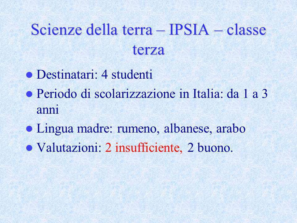 Scienze della terra – IPSIA – classe terza Destinatari: 4 studenti Periodo di scolarizzazione in Italia: da 1 a 3 anni Lingua madre: rumeno, albanese,