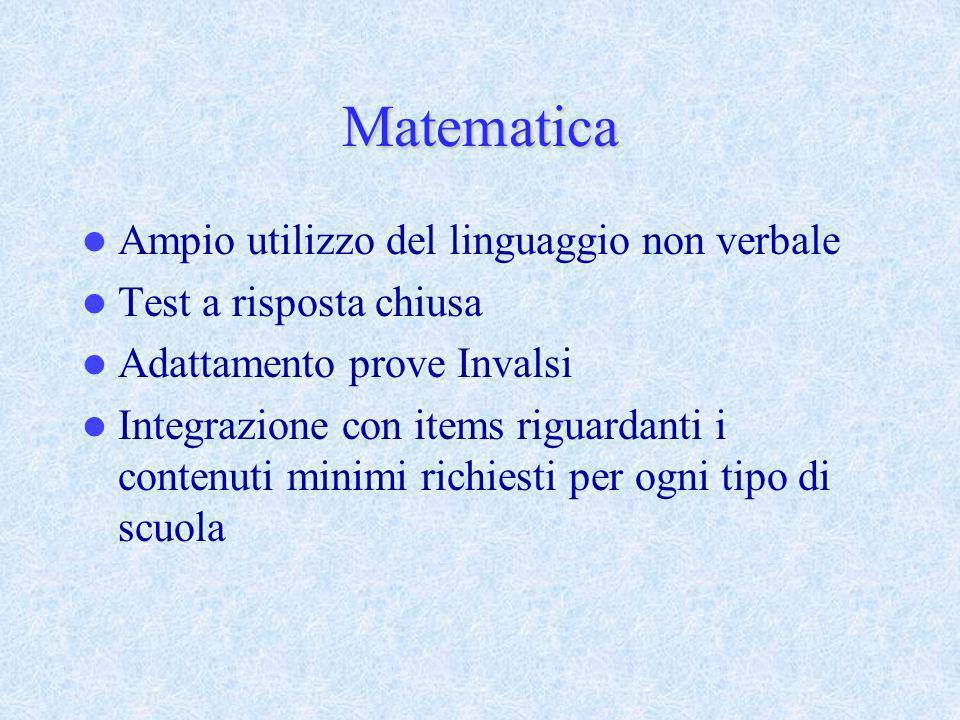 Matematica Ampio utilizzo del linguaggio non verbale Test a risposta chiusa Adattamento prove Invalsi Integrazione con items riguardanti i contenuti m