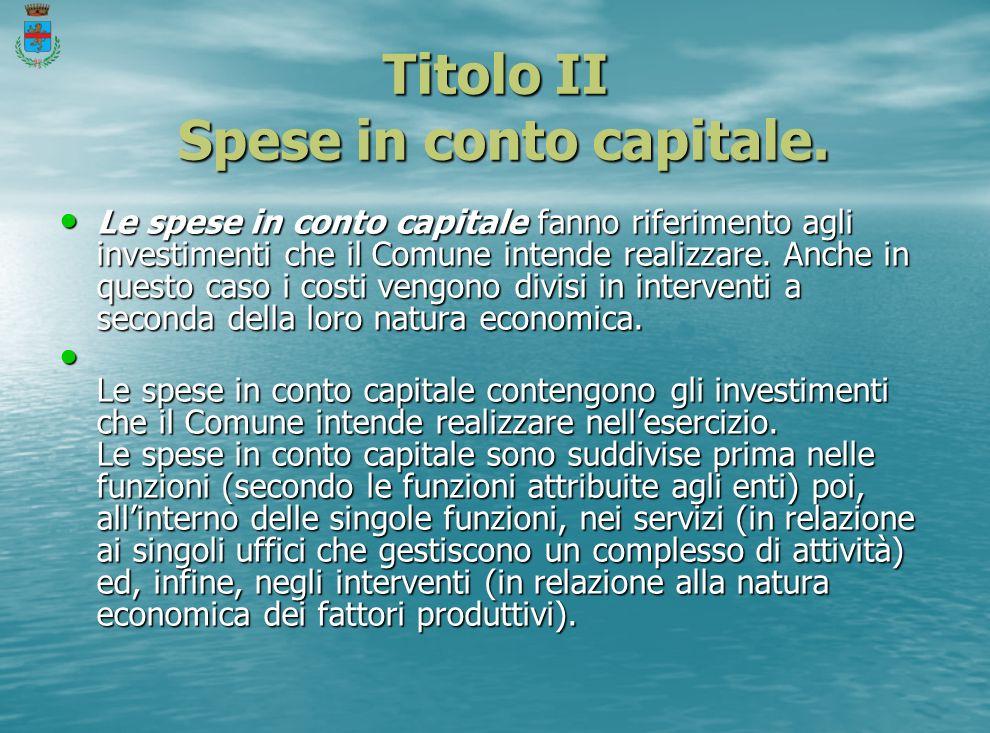 Titolo II Spese in conto capitale.