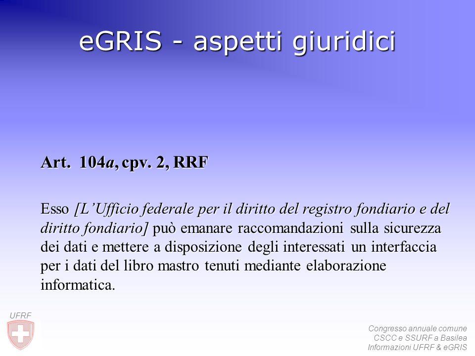 Congresso annuale comune CSCC e SSURF a Basilea Informazioni UFRF & eGRIS UFRF eGRIS - aspetti giuridici Art.