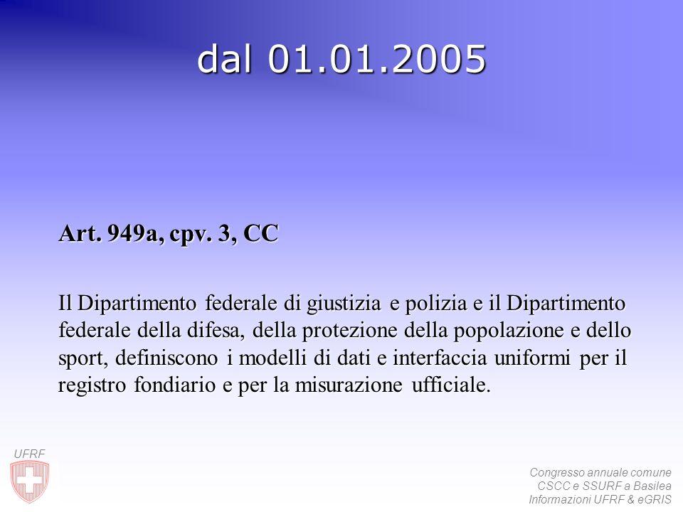Congresso annuale comune CSCC e SSURF a Basilea Informazioni UFRF & eGRIS UFRF dal 01.01.2005 Art. 949a, cpv. 3, CC Il Dipartimento federale di giusti