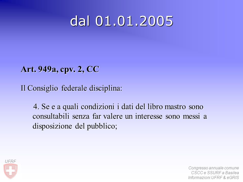 Congresso annuale comune CSCC e SSURF a Basilea Informazioni UFRF & eGRIS UFRF dal 01.01.2005 Art. 949a, cpv. 2, CC Il Consiglio federale disciplina: