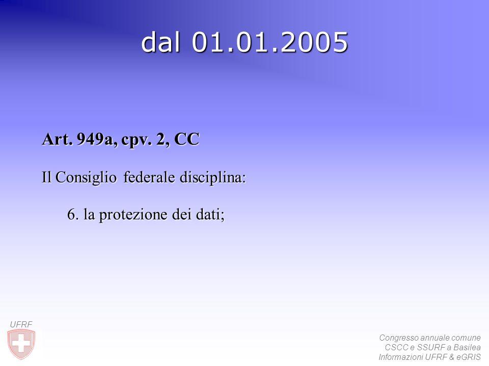 Congresso annuale comune CSCC e SSURF a Basilea Informazioni UFRF & eGRIS UFRF dal 01.01.2005 Art.