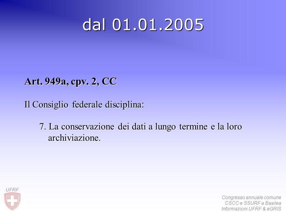 Congresso annuale comune CSCC e SSURF a Basilea Informazioni UFRF & eGRIS UFRF dal 01.01.2005 Art. 949a, cpv. 2, CC Il Consiglio federale disciplina :