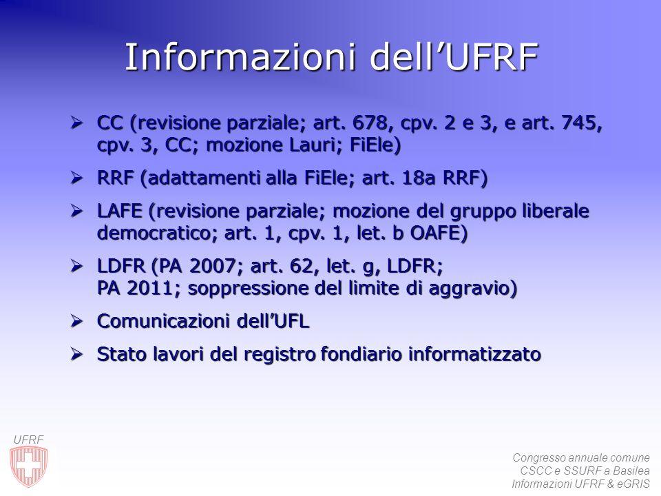 Congresso annuale comune CSCC e SSURF a Basilea Informazioni UFRF & eGRIS UFRF Informazioni dellUFRF CC CC (revisione parziale; art. 678, cpv. 2 e 3,
