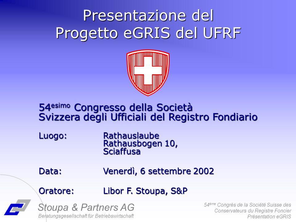 54 ème Congrès de la Société Suisse des Conservateurs du Registre Foncier Présentation eGRIS Territorio piccola interfaccia Confini divergenti dei sistemi RF1 RF2 Territorio pilota Piccola interfaccia RF1RF2MU1MU2MU3/ = MU1 MU3 MU2
