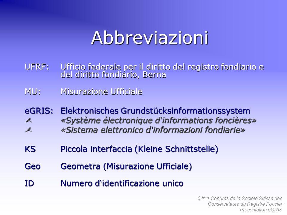 54 ème Congrès de la Société Suisse des Conservateurs du Registre Foncier Présentation eGRIS 2 a generazione del RF informazizzato RF centrale eGRIS RF RFA RF eGRIS RF RFA RF 1a resp.