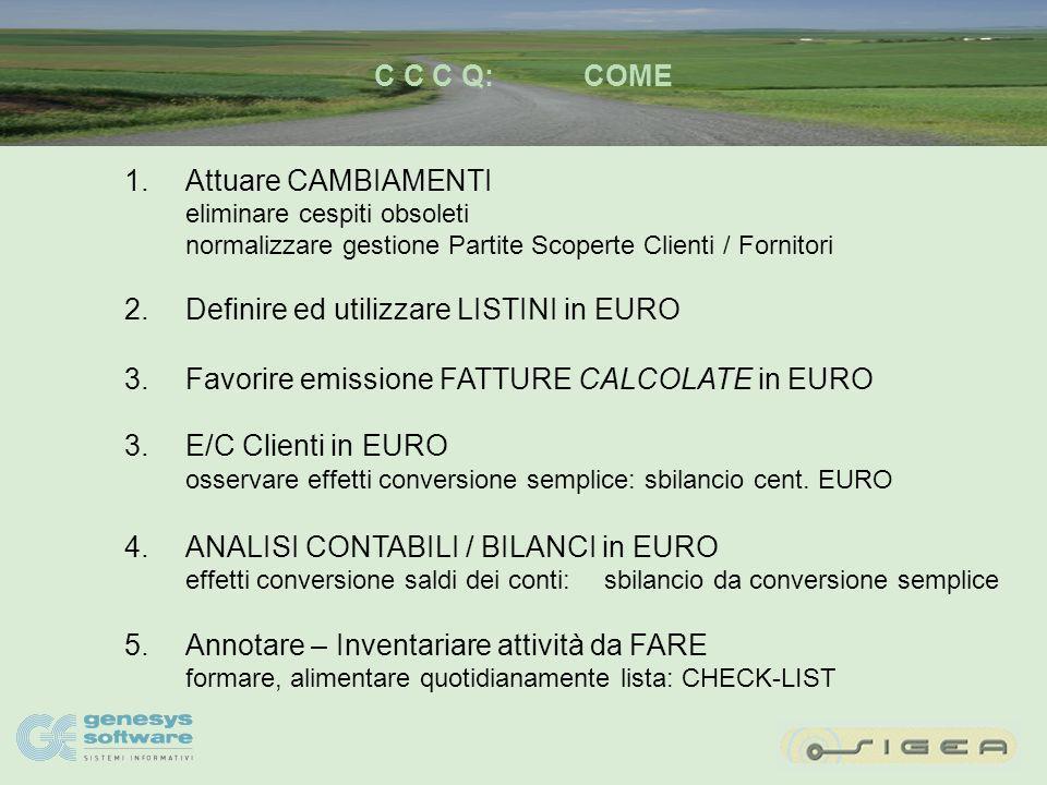 C C C Q:COSA 1.Profittare per attuare CAMBIAMENTI cespiti obsoleti Partite Scoperte Clienti / Fornitori listini prezzi 2.LISTINI in EURO 3.FATTURE CALCOLATE in EURO 4.E/C Clienti in EURO 5.ANALISI CONTABILI / BILANCI in EURO 6.Inventario cose da FARE: check-list