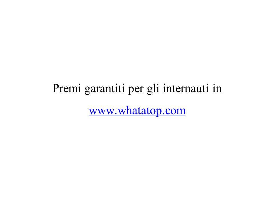 Premi garantiti per gli internauti in www.whatatop.com