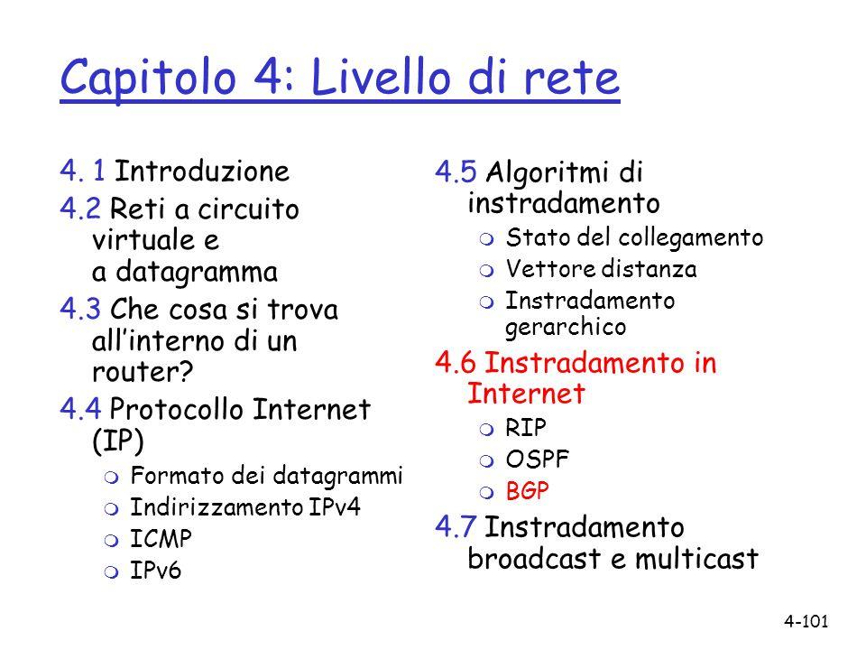 4-101 Capitolo 4: Livello di rete 4. 1 Introduzione 4.2 Reti a circuito virtuale e a datagramma 4.3 Che cosa si trova allinterno di un router? 4.4 Pro