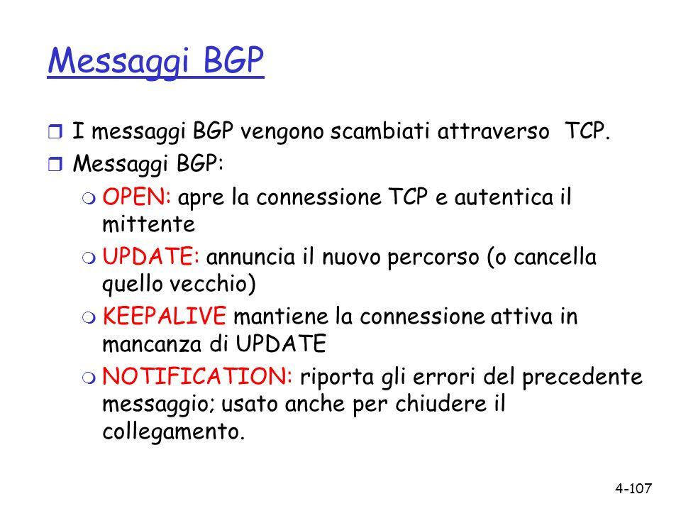 4-107 Messaggi BGP r I messaggi BGP vengono scambiati attraverso TCP. r Messaggi BGP: m OPEN: apre la connessione TCP e autentica il mittente m UPDATE