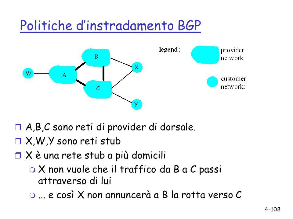 4-108 Politiche dinstradamento BGP r A,B,C sono reti di provider di dorsale. r X,W,Y sono reti stub r X è una rete stub a più domicili m X non vuole c
