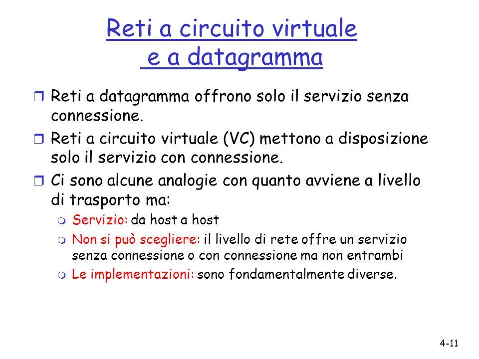 4-11 Reti a circuito virtuale e a datagramma r Reti a datagramma offrono solo il servizio senza connessione. r Reti a circuito virtuale (VC) mettono a