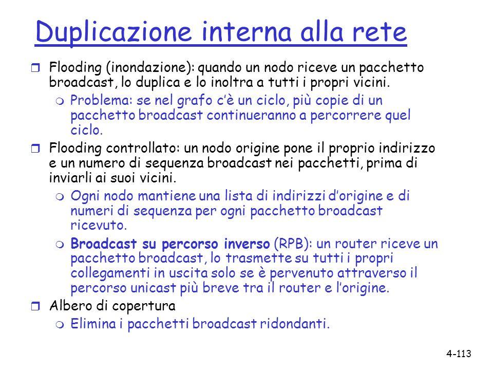 4-113 Duplicazione interna alla rete r Flooding (inondazione): quando un nodo riceve un pacchetto broadcast, lo duplica e lo inoltra a tutti i propri