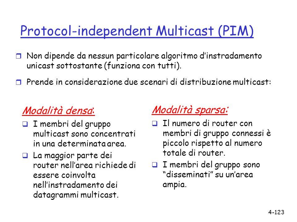 4-123 Protocol-independent Multicast (PIM) r Non dipende da nessun particolare algoritmo dinstradamento unicast sottostante (funziona con tutti). r Pr