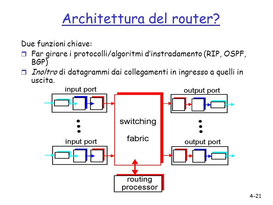 4-21 Architettura del router? Due funzioni chiave: r Far girare i protocolli/algoritmi dinstradamento (RIP, OSPF, BGP) r Inoltro di datagrammi dai col
