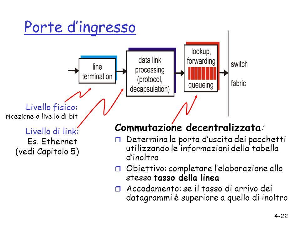 4-22 Porte dingresso Commutazione decentralizzata: r Determina la porta duscita dei pacchetti utilizzando le informazioni della tabella dinoltro r Obi