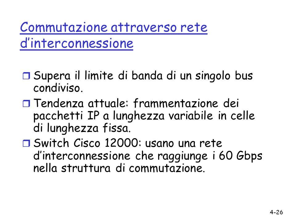 4-26 Commutazione attraverso rete dinterconnessione r Supera il limite di banda di un singolo bus condiviso. r Tendenza attuale: frammentazione dei pa