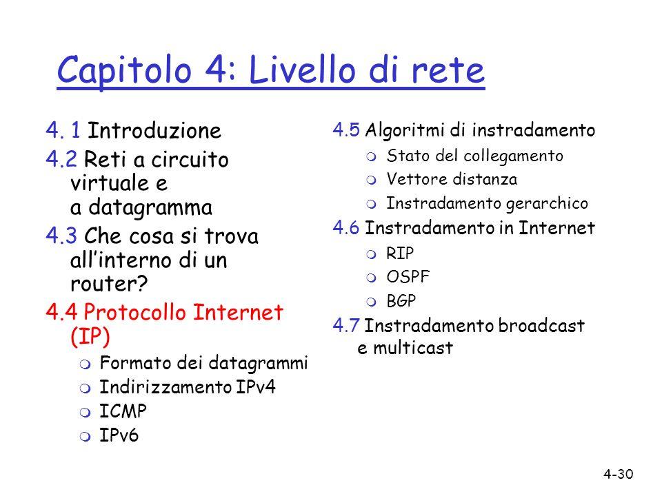 4-30 Capitolo 4: Livello di rete 4. 1 Introduzione 4.2 Reti a circuito virtuale e a datagramma 4.3 Che cosa si trova allinterno di un router? 4.4 Prot