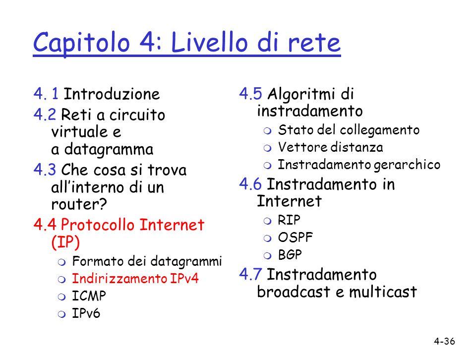 4-36 Capitolo 4: Livello di rete 4. 1 Introduzione 4.2 Reti a circuito virtuale e a datagramma 4.3 Che cosa si trova allinterno di un router? 4.4 Prot