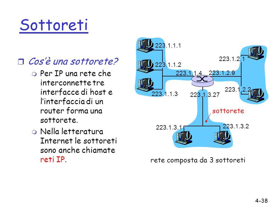 4-38 Sottoreti r Cosè una sottorete? m Per IP una rete che interconnette tre interfacce di host e linterfaccia di un router forma una sottorete. m Nel