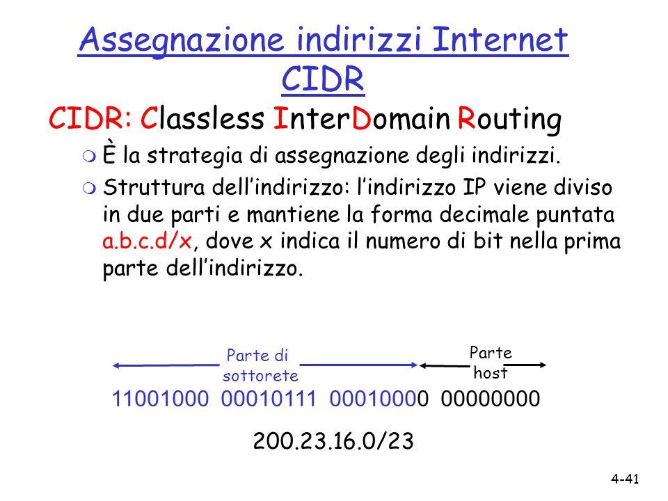 4-41 Assegnazione indirizzi Internet CIDR CIDR: Classless InterDomain Routing m È la strategia di assegnazione degli indirizzi. m Struttura dellindiri
