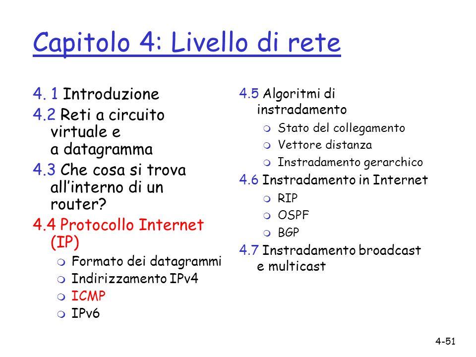 4-51 4. 1 Introduzione 4.2 Reti a circuito virtuale e a datagramma 4.3 Che cosa si trova allinterno di un router? 4.4 Protocollo Internet (IP) m Forma