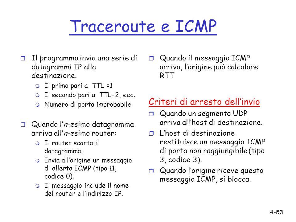 4-53 Traceroute e ICMP r Il programma invia una serie di datagrammi IP alla destinazione. m Il primo pari a TTL =1 m Il secondo pari a TTL=2, ecc. m N