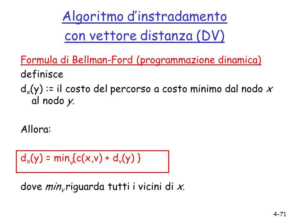 4-71 Algoritmo dinstradamento con vettore distanza (DV) Formula di Bellman-Ford (programmazione dinamica) definisce d x (y) := il costo del percorso a