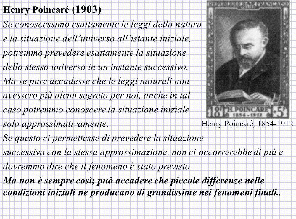 Henry Poincaré ( 1903) Se conoscessimo esattamente le leggi della natura e la situazione delluniverso allistante iniziale, potremmo prevedere esattame