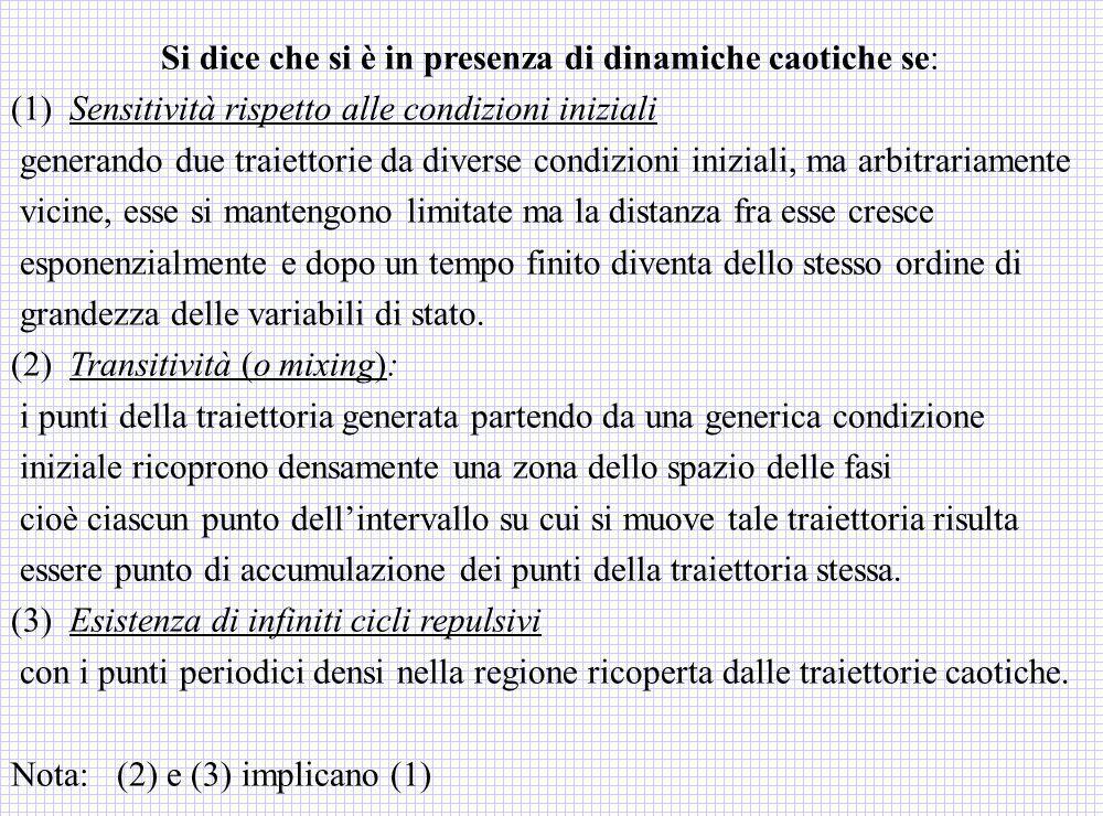 Si dice che si è in presenza di dinamiche caotiche se: (1) Sensitività rispetto alle condizioni iniziali generando due traiettorie da diverse condizio