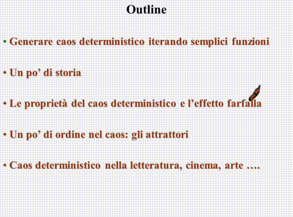 Outline Generare caos deterministico iterando semplici funzioni Generare caos deterministico iterando semplici funzioni Un po di storia Un po di stori