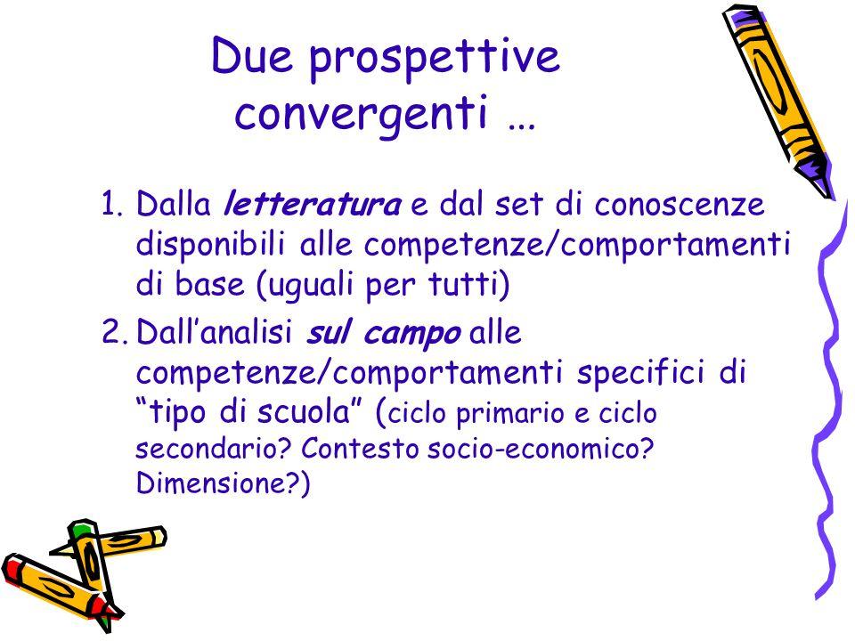 Due prospettive convergenti … 1.Dalla letteratura e dal set di conoscenze disponibili alle competenze/comportamenti di base (uguali per tutti) 2.Dalla