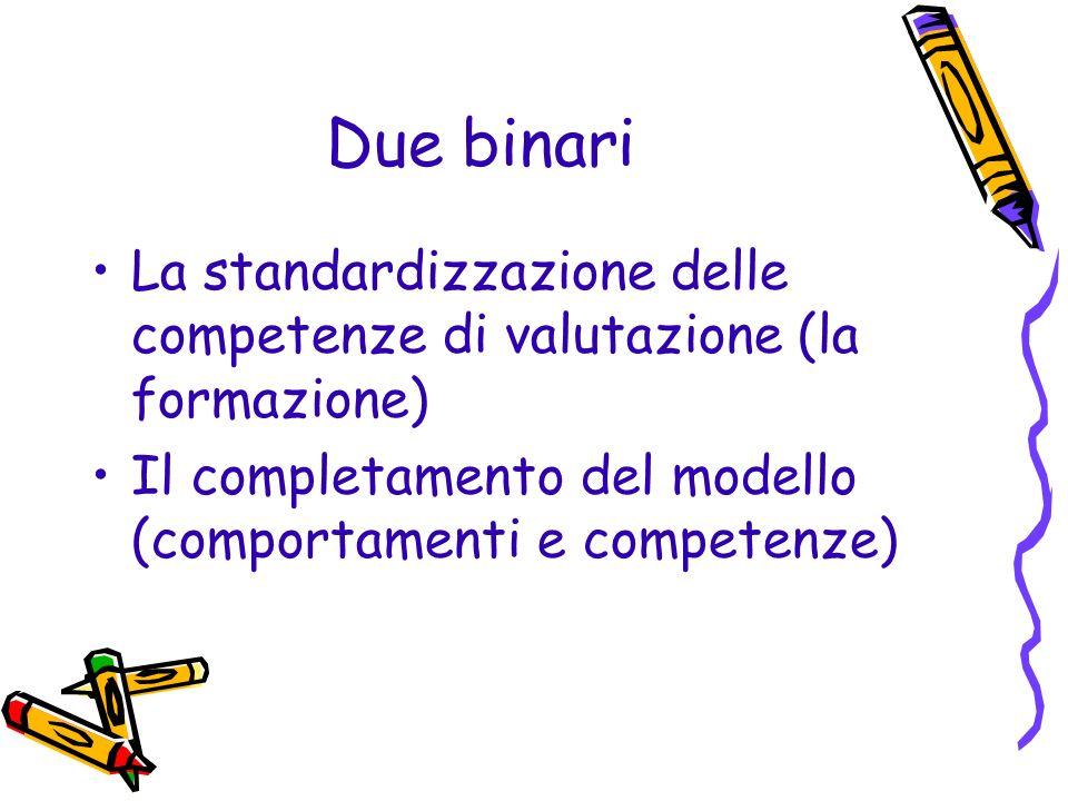 Due binari La standardizzazione delle competenze di valutazione (la formazione) Il completamento del modello (comportamenti e competenze)