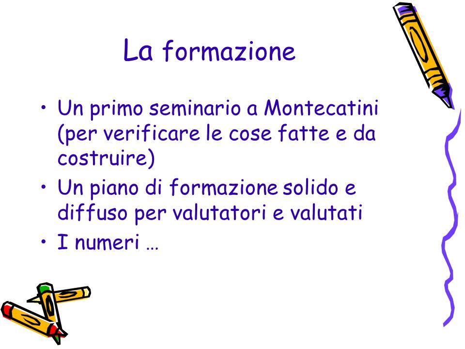 La formazione Un primo seminario a Montecatini (per verificare le cose fatte e da costruire) Un piano di formazione solido e diffuso per valutatori e
