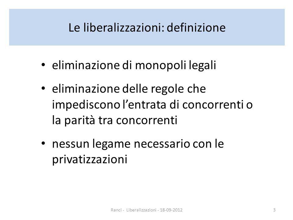 Le liberalizzazioni: definizione eliminazione di monopoli legali eliminazione delle regole che impediscono lentrata di concorrenti o la parità tra concorrenti nessun legame necessario con le privatizzazioni Ranci - Liberalizzazioni - 18-09-20123