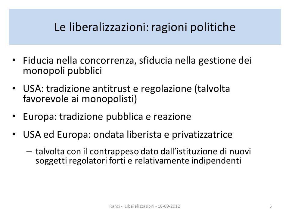 Le liberalizzazioni in Italia Spinta dallesigenza di gettito Nuova regolazione indipendente: solo in alcuni settori Liberalizzazione: scelta generalmente considerata negativa per la qualità del servizio Risultati vari, analisi complicata da altri fattori contemporanei Ranci - Liberalizzazioni - 18-09-20126